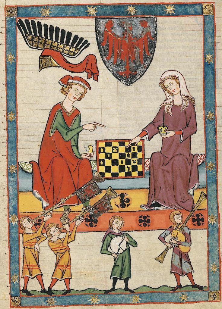 """14th century (ca. 1300-1340) Switzerland - Zürich Universitätsbibliothek Heidelberg Cod. Pal. germ. 848: Große Heidelberger Liederhandschrift (Codex Manesse) fol. 13r - Markgraf Otto IV von Brandenburg (aka """"Otto with the arrow"""") playing chess with a Lady (one of his two wives?)"""