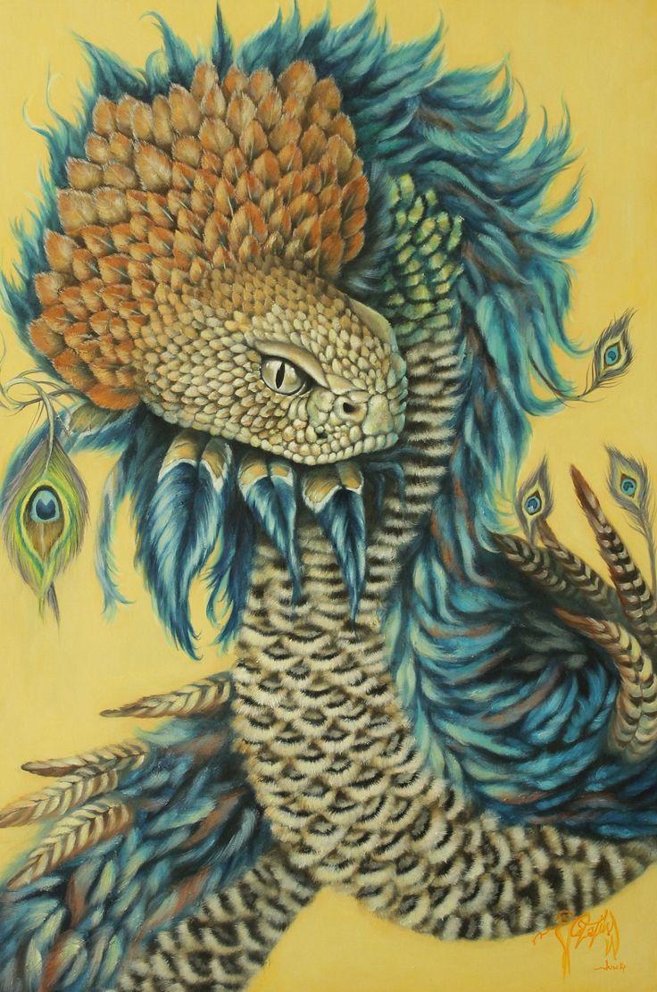 "Quetzalcoatl ,La Serpiente Emplumada Oleo sobre lienzo 23"" x 34.5 (Quetzalcoatl, the Feathered Serpent , Oil on canvas 23"" x 34.5)  MORE INFO :  facebook https://www.facebook.com/pages/Catalina-Diaz-Oil-Painting/365502130162893?ref=hl"