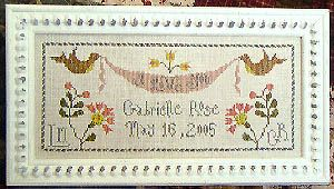 gabrielle rose - cross stitch pattern celebrating birth - la-d-da