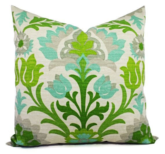 Two Green Outdoor Pillow Covers - 20 x 20 Inch - Green Outdoor Pillows - Green Patio Pillows - Couch Pillow Cushion Cover Accent Pillow