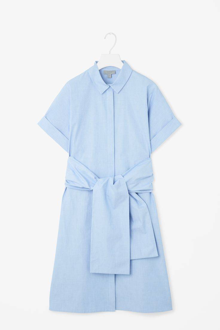 COS   Shirt dress with chunky tie —sample in chambray