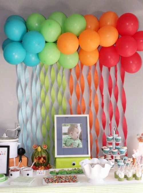 decoracion de cumpleanos con globos de colores