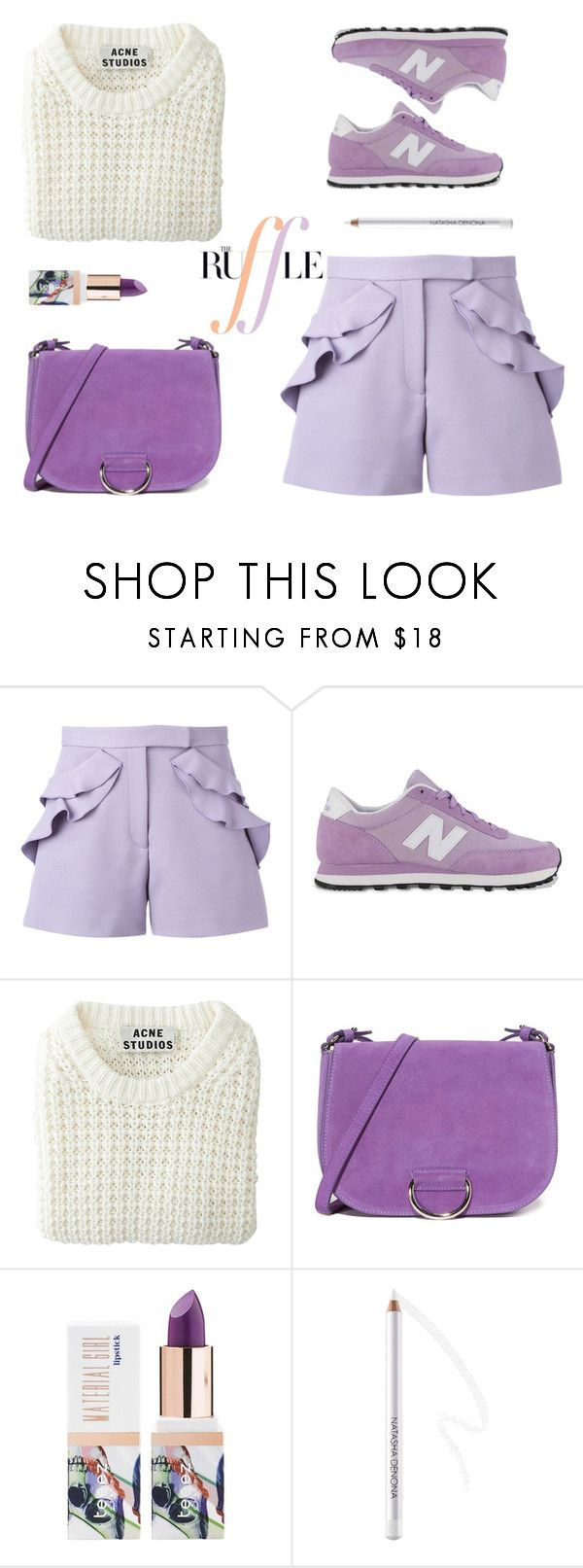 """""""Spring Sweater"""" by stavrolga ❤ liked on Polyvore featuring Elie Saab, New Balance, Acne Studios, Little Liffner, Teeez, polyvoreeditorial, purplelipstick, springsweater and ruffledshorts"""