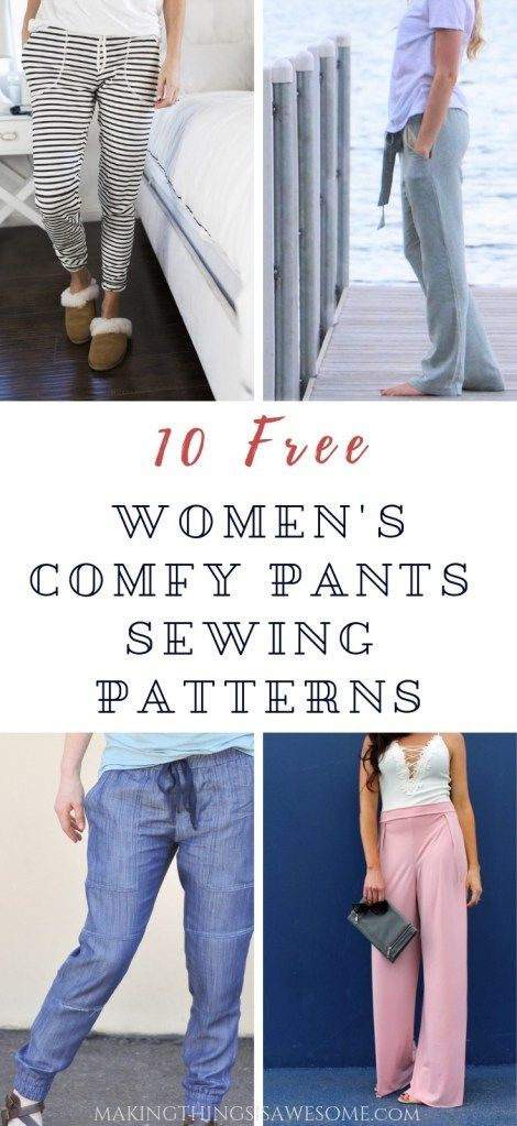10 Free Women's Comfy & Stylish Pant Sewing Patterns: Round up