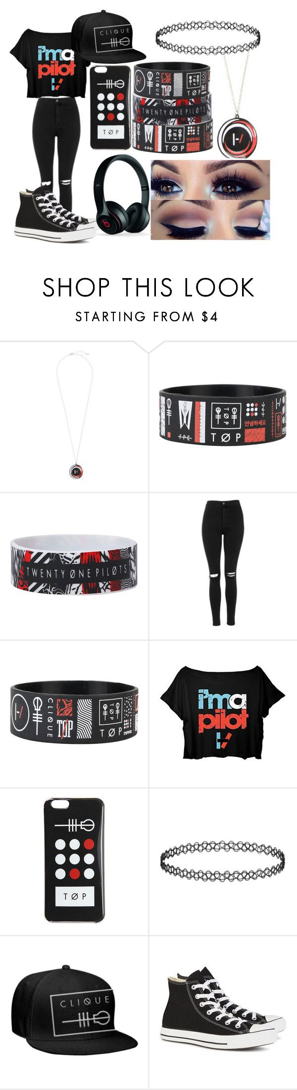 """""""Twenty-One Pilots"""" by crystal0248 ❤ liked on Polyvore featuring Topshop, Converse and Beats by Dr. Dre"""