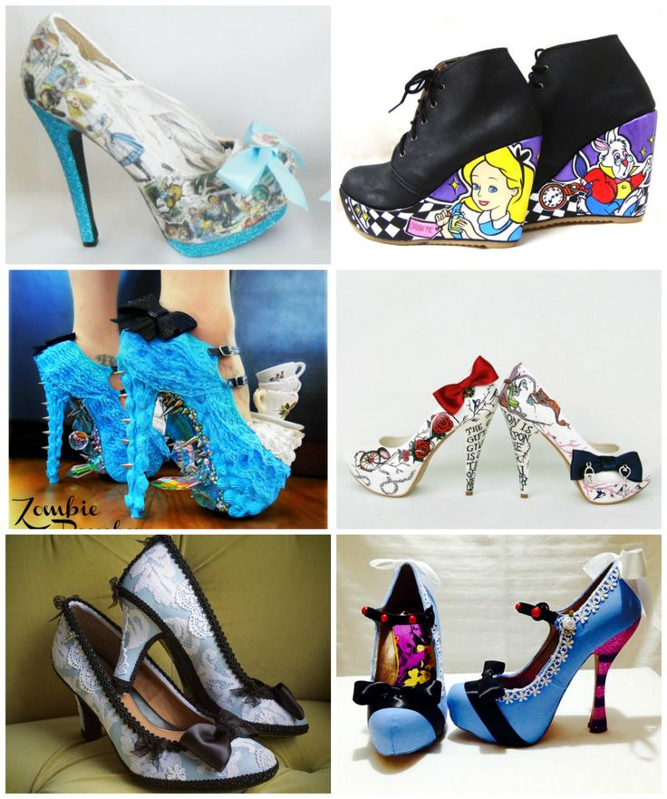 misfitwedding:  Alice In Wonderland Wedding Shoes There are lots more Alice In Wonderland shoes here