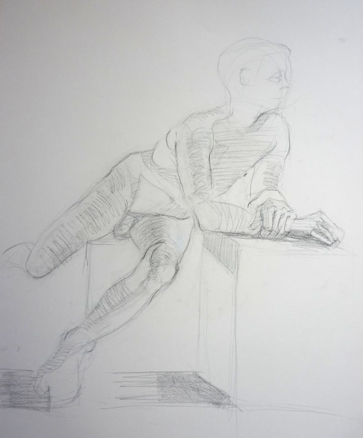 Life Drawing - Sergio Rigoli □ conte black pastel on canson