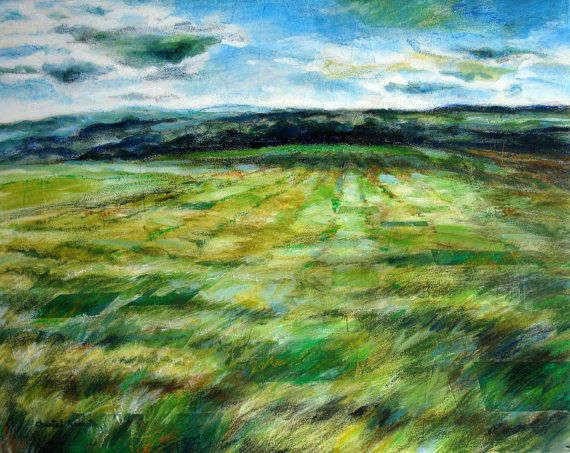 Original Sky, Landscape, mountain, prairie painting by artist Chantal Touchette from Atelier BeauVoir. Own this marvelous painting. Click to visit online store gallery! www.atelierbeauvoir.etsy.com