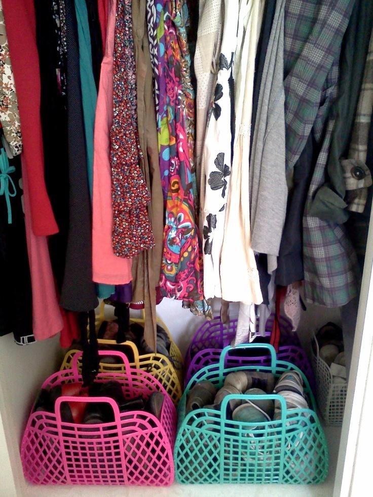 Shoes Storage Wardrobe Organization With Plastic Baskets Shoecloset Closet Organize Your