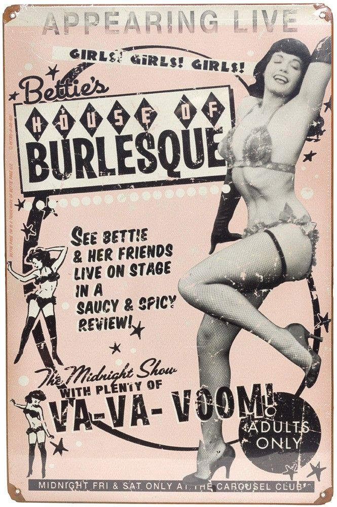 RETRO A GO GO BETTIE PAGE BURLESQUE TIN SIGN... i love this store!!