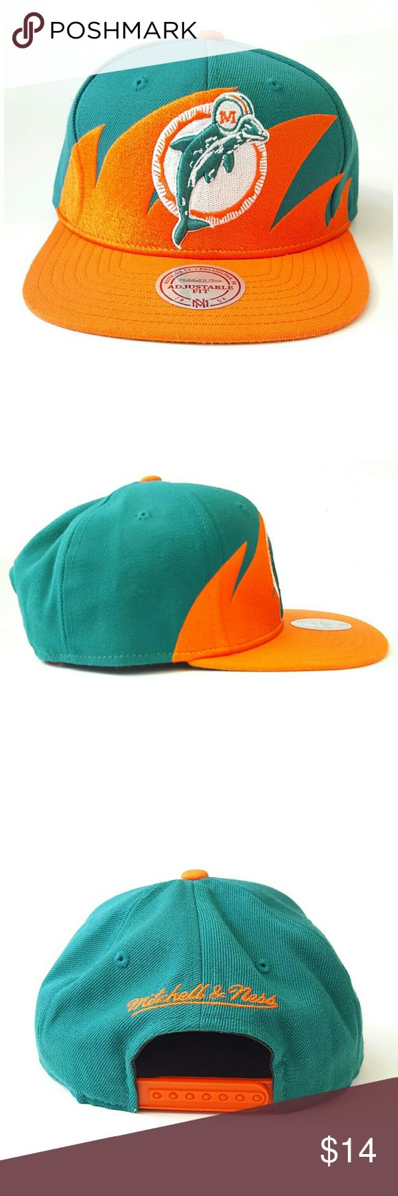 Miami Dolphins NFL Snapback Hat Mitchell & Ness, Miami Dolphins, NFL, vintage collection, snapback style, normal signs of wear, smudges on bill as pictured, good condition, one size fits all. Mitchell & Ness Accessories Hats