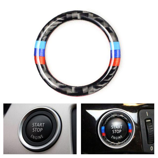 Car Carbon Fiber Engine Start Stop Push Button Ignition Key Ring Decor Trim For Bmw 3 Series E90 E92 E93 E89 Z4 2009 2010 2011 Bmw Z4 Interior Accessories Bmw