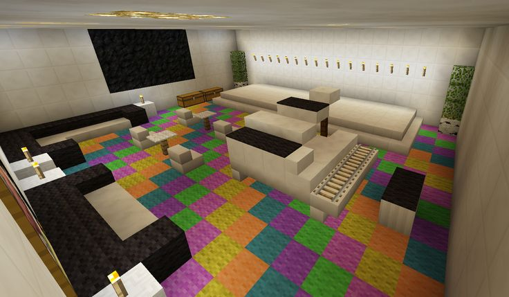 Minecraft Music Room Stage Karaoke Piano Rainbow Carpet