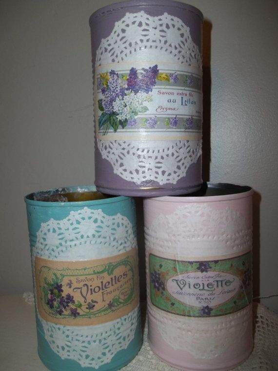 Painted Tin Cans Upcycled Tin Can Decoupage Tin by vintagearmoire