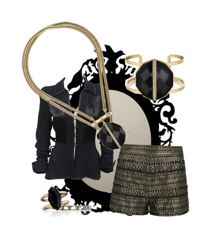 """gold and onyx"" by snnkitty on Polyvore featuring Ossie Clark, sass & bide and Chloe + Isabel"