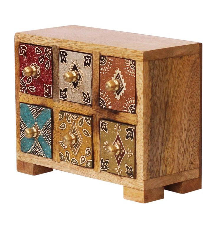 """Bulk Wholesale Handmade 7"""" Wooden Jewelry Box with 6 Chest Drawers in Natural-…   – Bulk Wholesale Jewelry Box Supplies"""