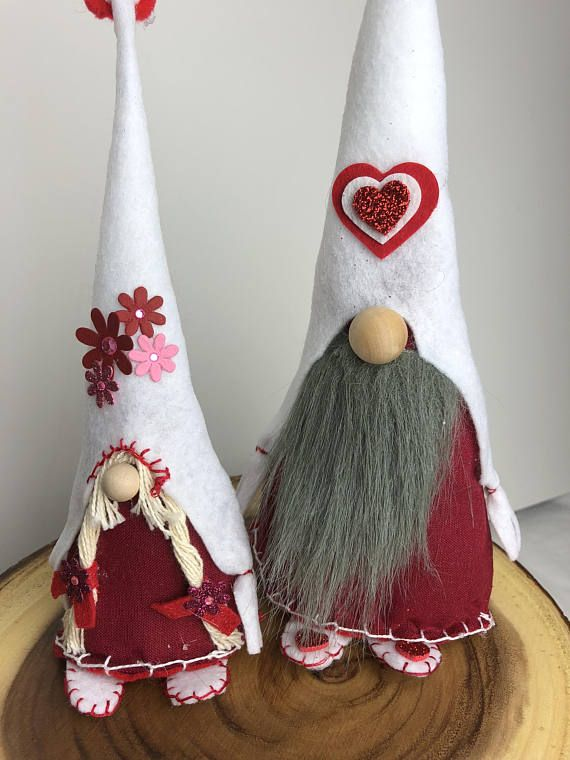 Pair of Red Loving Gnomes just for you! Only two sets left. These beautiful handmade Valentine Gnomes are perfect decoration for Valentines Day, or for a gift for that special someone. They bring such joy anywhere in your home. Place them in your kitchen, living room, or bedroom.