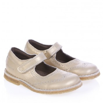 Bisgaard Girls Gold Leather Shoes at Childrensalon.com