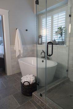 Master bathroom remodel, shower, free standing bath tub, Calacatta marble tile | Interior designer: Carla Aston- Photographer: Tori Aston http://ToriAston.com