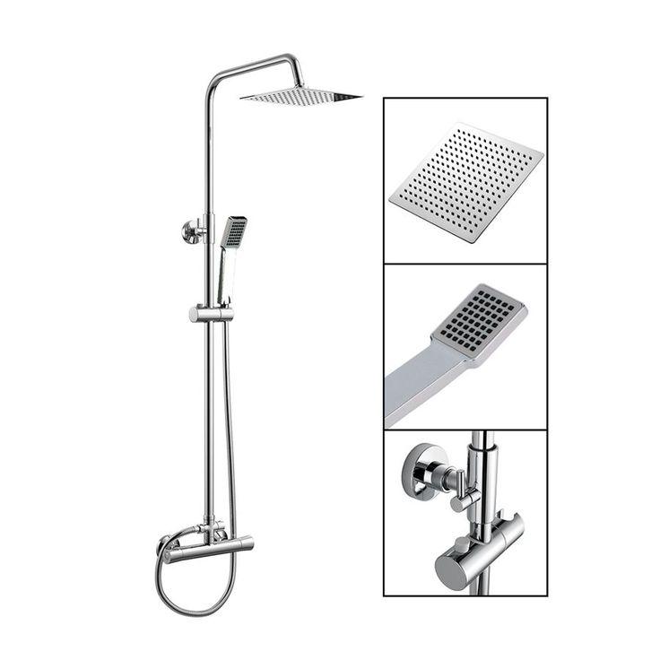 Barra de ducha termostática rociador cuadrado