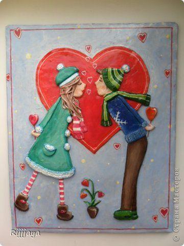 Картина панно рисунок Поделка изделие 8 марта Валентинов день Лепка Папье-маше Роспись ОЧЕНЬ МНОГО всего-всего разного Бумага Магниты Тесто соленое фото 20
