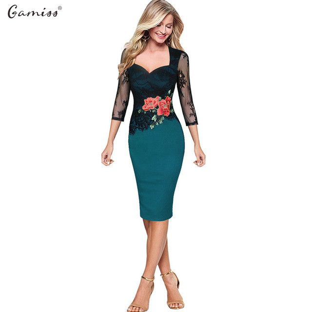 Women Work Dress Sexy Office Lady Lace Dress Women Embroidered Floral Plus Size S-5XL Party Dress Midi Embroidery Dress