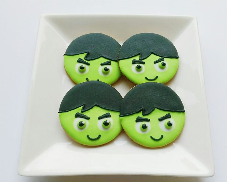 Made Hulk face cookies for a birthday party. For more designs please visit gingerbreadcorner.com.au