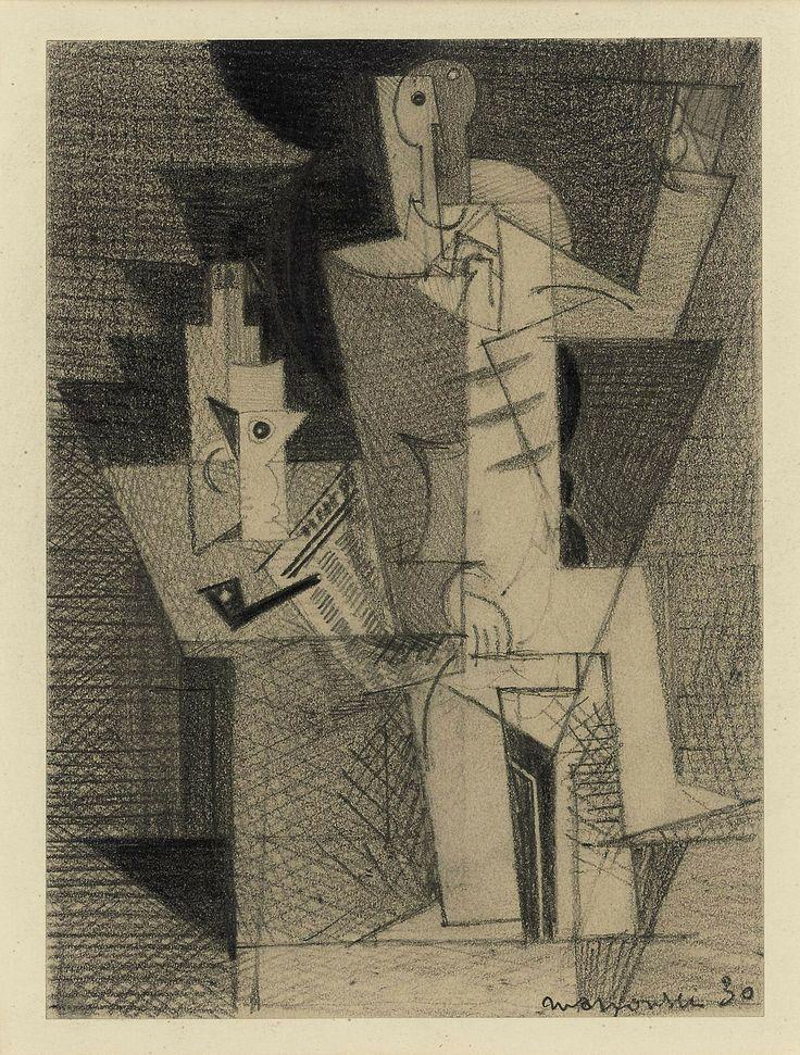 Louis Marcoussis: Homme à la pipe, 1930.