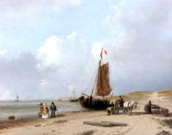 Petrus Marius Brouwer (1819-1886)  Strandgezicht bij Scheveningen.