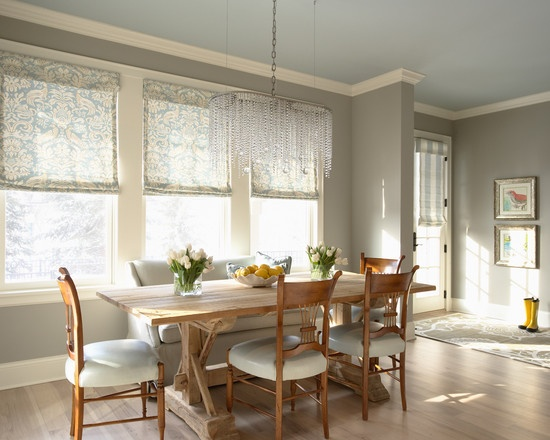 sofa: Romans Shades, Breakfast Nooks, Eclectic Dining Rooms, Interiors, Wall Color, Grey Wall, Paintings Color, Windows Treatments, Gray Wall