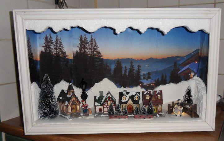 Small Christmas village - Kerstdorp schilderij