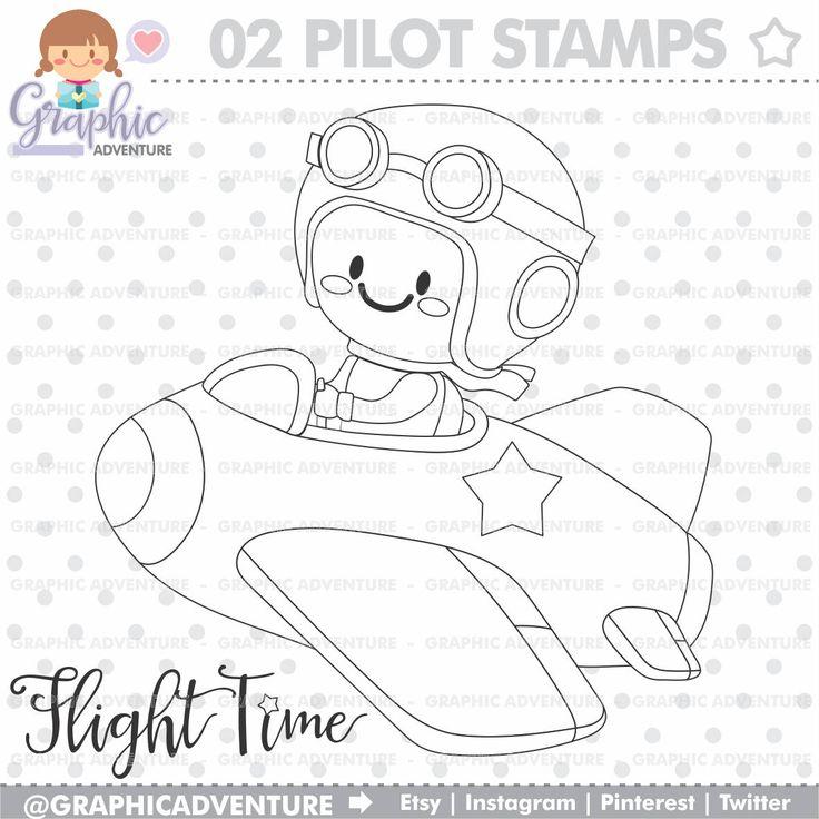 75%OFF - Pilot Stamp, COMMERCIAL USE, Digi Stamp, Digital Image, Party Digistamp, Pilot Coloring Page, Pilot Clipart, Pilot Graphics, Stamps