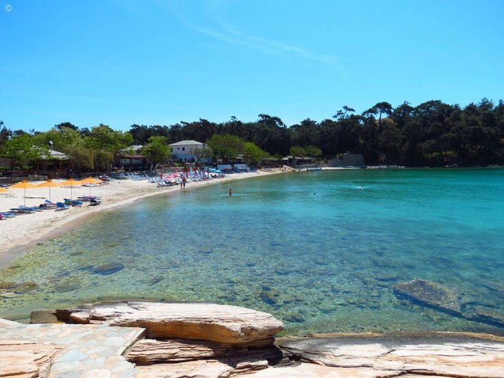 lazy morning in Aliki - beach with two bays and shallow water - Thassos Island