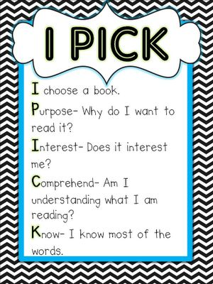 """It would be good to have something similar to this with reminders for students to find """"Just Right"""" books..."""
