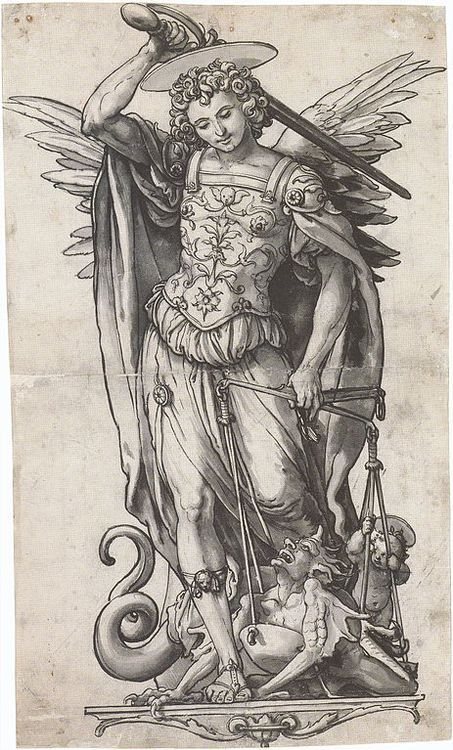 The Archangel Michael Weighing Souls Hans Holbein the Younger ca. 1523