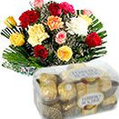 Mixed Flowers Bouquet with Ferrero Rocher Chocolate available at : http://giftschennai.com/New-Years-Gifts-to-Chennai.php