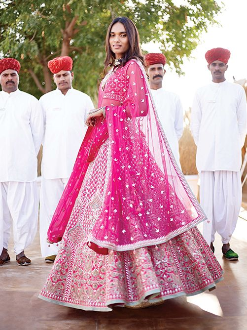 Love this fuchsia pink bridal lehenga by Anita Dongre