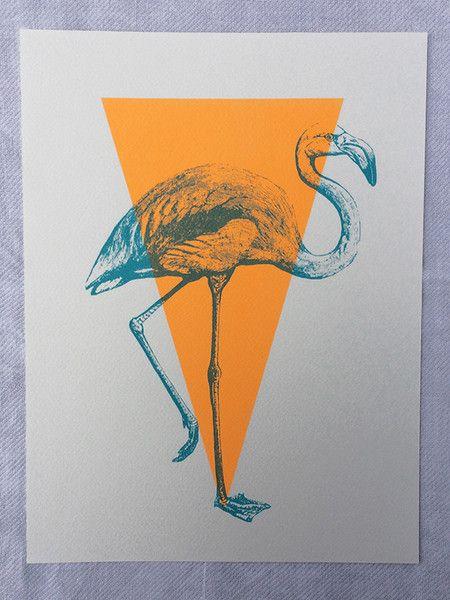 Siebdruck - Original Siebdruck Flamingo 20x30cm - ein Designerstück von thegreykat bei DaWanda