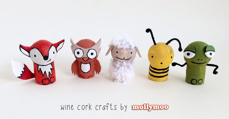 MollyMoo – crafts for kids and their parents Wine Cork Crafts - set of five animals