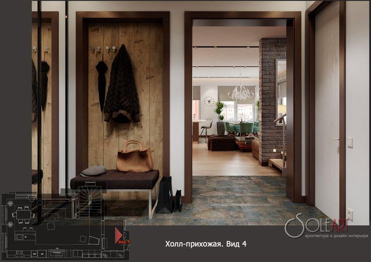 дизайн-проект таунхауса, холл прихожая, дизайн-проект прихожей, прихожая в таунхаусе, деревянная панель