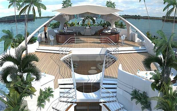 """Plans for """"luxury floating island"""" revealed. Buying one of these will set you back around $4,500,000!Floating Islands, Living Spaces, Solar Panels, Luxury Yachts, Orso Islands, Sea, Travel, Solar Power, Drinks Water"""