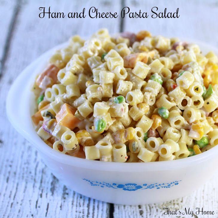Ham and Cheese Pasta Salad Recipe Salads with ditalini pasta, corn salsa, frozen peas, sweet relish, diced ham, cheese