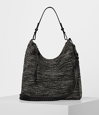 ALLSAINTS KITA TWEED NORTH SOUTH TOTE. #allsaints #bags #tote #leather #lining #shoulder bags #hand bags #nylon #cotton #