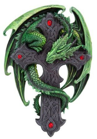Green Dragon Wrapped Around Celtic Cross Wall Hanging - Woodland Guardian Plaque by Anne Stokes