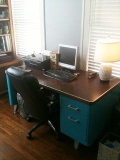 Katherine Paige Creates: vintage steel tanker desk…completed.   Love this color idea!
