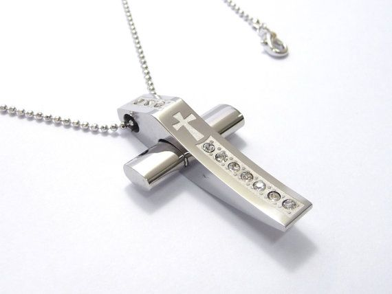 A stainless steel cross pendant necklace A silver by artstudio88, $29.99
