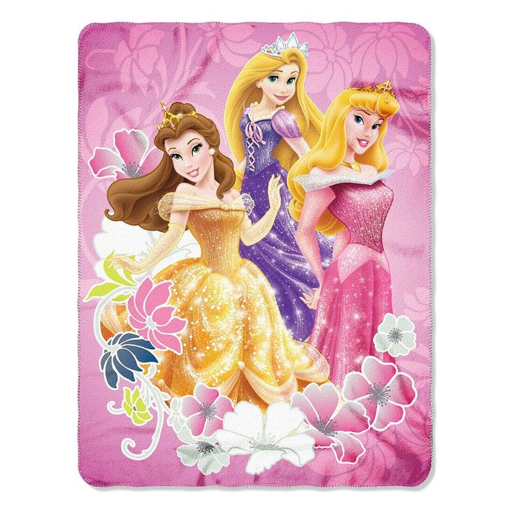 Princess Shining Flowers Fleece Throw, Multicolor