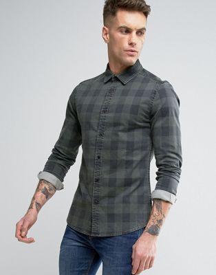 b4de6425b4a Приталенная джинсовая рубашка в клетку ASOS