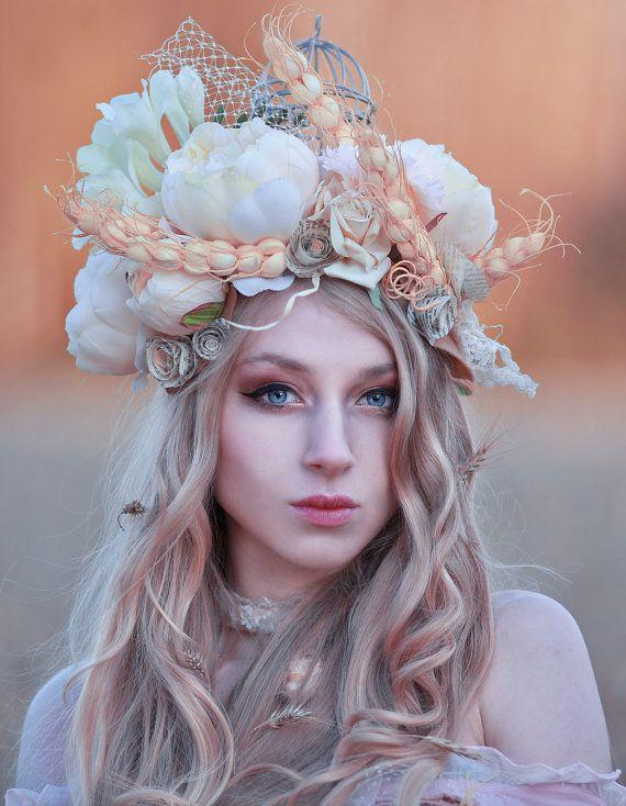 Bohemian headpiece with flowers, birdcage, headband, floral, cream & beige, roses