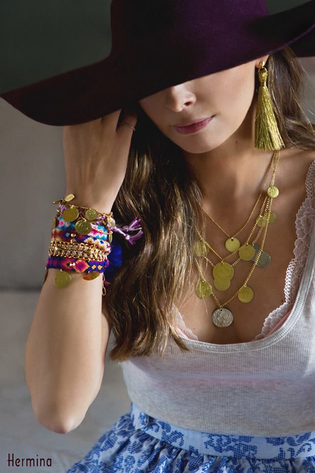 Herminawristwear.com boho chick jewelry, friendship bracelets, coin necklaces, bohemian, tassel earrings, style, fashion, gypsy, photo inspo